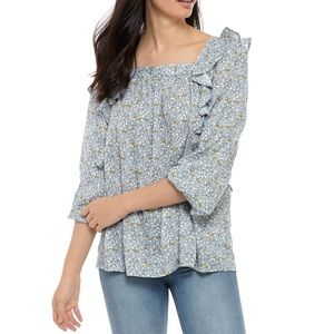 NWT Chaps Square Neck Ruffle Blouse